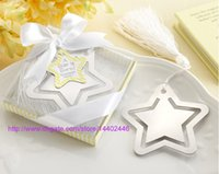 Wholesale 100PCS Home Party Favor GIft Box Hollowed Star Bookmark With White Tassel For Baby Shower Christening Wedding Favors Bomboniere