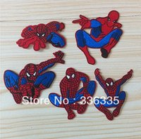 Wholesale Spiderman Embroidered - free shipping 10 pcs mixed 5 styles spiderman embroidered cartoon Iron On Patches garment badge Quality Appliques diy accessory