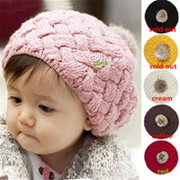 Wholesale New Arrivals Baby Kids Girls Toddler Knitted Crochet Beanie Hat Cap Colors AX37