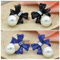 Wholesale Hot Sale Fashion vintage simple cheap full rhinestone sweet bowknot pearl earrings for women Blue Black ZMPJ453