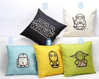 Wholesale 20pcs Star Wars Printed Cotton And Linen Pillow cm Creative Star Wars Hand painted Linen Pillow Sofa Chair Cushion Cover Home Decoration