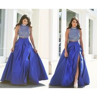 Wholesale Royal Blue Sexy High Split Two Pieces Prom Dresses Arabic High Neck Beaded Crystal Long Evening Dress Party Gowns Vestidos de Festa Longo
