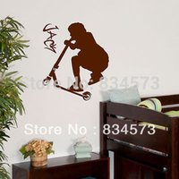 art scooter - ome Decor Wall Sticker PERSONALISED Name STUNT SCOOTER Wall Art Sticker Decal Home DIY Decoration Decor Wall Mural Removable Bedroom Deca