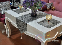 Wholesale New Modern Luxury Ombre Flower Tablecloth Fashion Wedding Table Cloth Runner Hot Silver Embroidery Room Home Hotel Bedding Villa Decoration