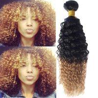 Cheap Brazilian Ombre Human Hair Extension Vip Beauty New Afro Kinky 100g PC 1B 27# Afro Curly Hot Curls 100g Bundles 6A Hair Bundles Weave BR040