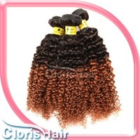outre - Ombre Hair Extensions Cheap A Brazilian Virgin Kinky Curly Ombre Deep Wave Human Hair Weave Bundles Tone B Outre Weft