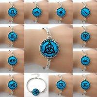 astrology moon - Zodiac Symbol Picture Blue Moon alloy charm Bangle Astrology Horoscope Jewelry Bracelets Constellation Leo Virgo Aquarius