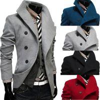 Wholesale New Men s Slim Lapel Slanting Single breasted Woollen Cloth Blends Jacket Coat Overcoat Color Spring Autumn Winter