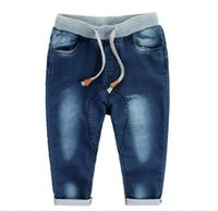 Wholesale 2016 Baby Boys Washed Denim Jeans Harem PP Crochet Pants Trousers Childs Clothing Cowboy Pants Kids Blue KB121