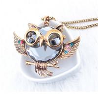 Alliage strass Vintage Sapphire Owl Pendentif long de la chaîne des femmes Collier CC1200