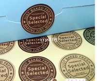 Wholesale hand made food package sealing stickers kraft paper gift package cm custom logo sticker contact with me