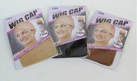 Wholesale Light Brown Dark Brown or Black Hair Nets Nylon Adjustable Elastic Wig Caps in package