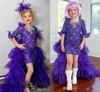 Wholesale Gorgeous Purple Lace Beaded Girl Pageant Dresses HIgh Low Flower Girl Dresses Half Sleeves With Flouncing Ruffles Organza Sweep Train