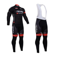 Wholesale 2015 Autumn Newest Bora Black Cycling Jersey Sets with Long Sleeve Cycling Jersey Padded Bib Bicycle Jerseys Quick Drying Cycling Bike Wear