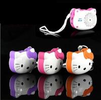 best micro speaker - Portable Speaker Hello Kitty cartoon mini mp3 player FM Radio Micro SD Card Best Gift For Kids freeshipping