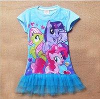 Cheap 2015 Fashion Kids My Little Pony Dress Girls Cartoon Summer Cotton Tutu Dress 3D Printer Casual Dress 6Pcs Lot