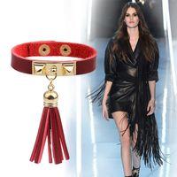 achat en gros de snaps gros rivets-Factory gros OL international Fashion star van Tassel rivet Bracelet Cuir Bijoux Accessoires commerce de gros snap Valentine Day Hot
