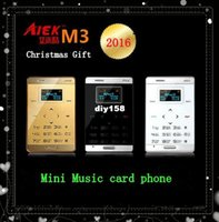 Wholesale 2016 Christmas Children Gift AIEK M3 Ultra thin Mini music Pocket phone Touch Mobile Cell Phone AEKU M3 FM Bluetooth Phone