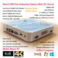 Eglobal Fanless Mini PC Windows avec processeur Intel Core i5 4200U Barebone HTPC 4K Ordinateur de bureau industriel Ordinateur de bureau Dual RS232 COM Port VGA HDMI