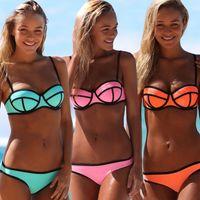 Summer ladies fashion wear - 2015 girls triangl SwimSuit Swim Wear women s fashion neoprene Bikini girl push up swim set suit ladies summer sexy J040201
