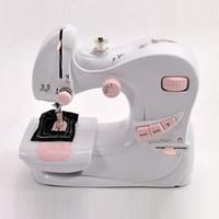 venda por atacado sewing machine-New arriavl hight Qualidade Mini Electric Household Overlock Desktop máquina de costura com LED Light 5 modos de agulha dupla SE082 frete grátis