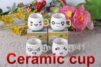 Wholesale Lovely creative mug ceramic mug bone porcelain cup with wooden cover face expression mug
