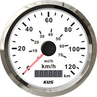 Wholesale 85mm speedometer velometer speedo km h V V for car truck normal impulse white faceplate
