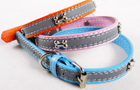 Wholesale Cheap Animal Collars - Middle Cute PU Pet Training Collar Charming Dog Cat Collar With Bone For Small Middle Pets Cheap Pet Safety Collar Mix Color 10PCS LOT