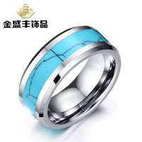 flat ring - Manufacturers supply tungsten gold ring inlaid turquoise flat grant edge high end jewelry tungsten steel Men s Rings