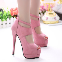 Wholesale Super model pink suede platform stiletto heels cm sexy summer sandals for women high heels wedding shoes dance shoes size to