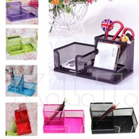 bathroom storage cubes - Hot sale NEW Mesh Cube Metal Multifunctional Pen Holder Stand Combination Organizer Card Storage Office Accessories Pen Container