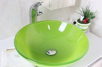 Wholesale Emerald Green Tempered Glass Vessel Sink With Chrome Faucet Set N