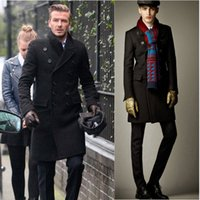 Wholesale 2015 New Fashion winter Man wool coat made by cotton cashmere double breasted Long blends Coat plus size M XXL Woolen coat