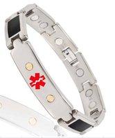 medical id - Wollet Jewelry red medical alert health energy enamel bio magnetic bracelet cm germanium black titanium mens id bracelet