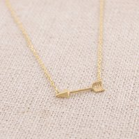 Wholesale 10pcs N10 Gold Silver Tiny Horizontal Arrow Necklace Pendant Jewelry Simple Sideways Green Arrow man Necklace