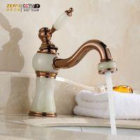bathroom vanity - Continental golden faucet hot and cold faucet Copper bathroom vanities gilded antique jade porcelain faucet