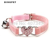 Wholesale 1509 Bling Heart Safety Belt Pet Cat Collar Products Colors Assorted for cats