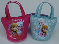 bag hand make - 2014 new style elsa anna Canvas printing zero wallet Snow princess hand carry make up bag pink blue Small bag of gifts to children