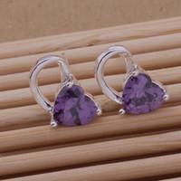 big heart earrings - Fashion Jewelry Manufacturer a Big Purple heart diamond earrings sterling silver jewelry factory Fashion Shine Earrings