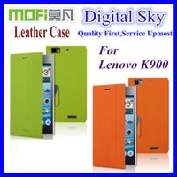 Cheap Free shipping Mofi case for Lenovo k900, colorful high quality side-turn Lenovo k900 leather case in stock