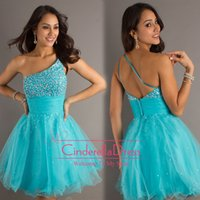 Cheap Reference Images 2014 cocktail dresses Best One-Shoulder Tulle 2014 homecoming dresses