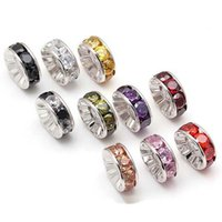 Wholesale 6mm Sterling Silver Rhinestone Rondelle Spacer Bead Crystal Rondelle Spacer Bead with Various Colors Zicorn Stones