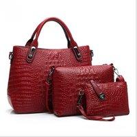 big red leather tote - bolsas femininas new minimalist luxury crocodile pattern fashion women handbag genuine leather bag pieces big bag