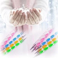 Wholesale 2 way Dotting Pen Marbleizing Tool Nail Polish Paint Manicure Dot Nail Art Set lset Fedex DHL free