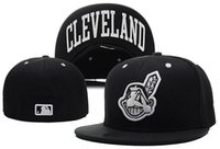 Wholesale MLB Cleveland Indians Baseball Cap Front Logo Alternate Fitted Hat wicks away sweat Adult Sport Fit Cap