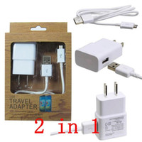 Wholesale 2 in charger kits A mA US EU plug Home Wall USB Adapter MICRO USB DATA CELL PHONE CABLE for SAMSUNG GALAXY S3 s4 note