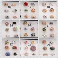 al por mayor promoción de la moda-promover el anillo de la señora / de la muchacha bajo precio de venta mixto anillo de aleación de anillo de cristal de circón de moda de lujo 120 120pcs estilo / 10box