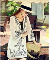 Cheap 2015 New Super Temperament Goddess Hand Embroidery Beaded Chiffon Shirt Summer Dresses Style Sexy White Lace Dress order<$18no track