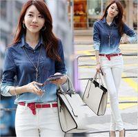 Wholesale New Spring Women Denim Shirt Long Sleeve Cotton Blouse Girls Plus Size Gradient Pattern Fashion Jean Blusas Femininas