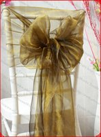 Cheap Wholesale-NO.2 Black-Gold Snow Organza Chair Hoods Chair Caps Chair Cover Sash For Wedding Event&Party&Home&Banquet Decoration